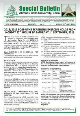ABU Post-UTME/DE 2018: Cut-off mark, Dates, Eligibility And Registration