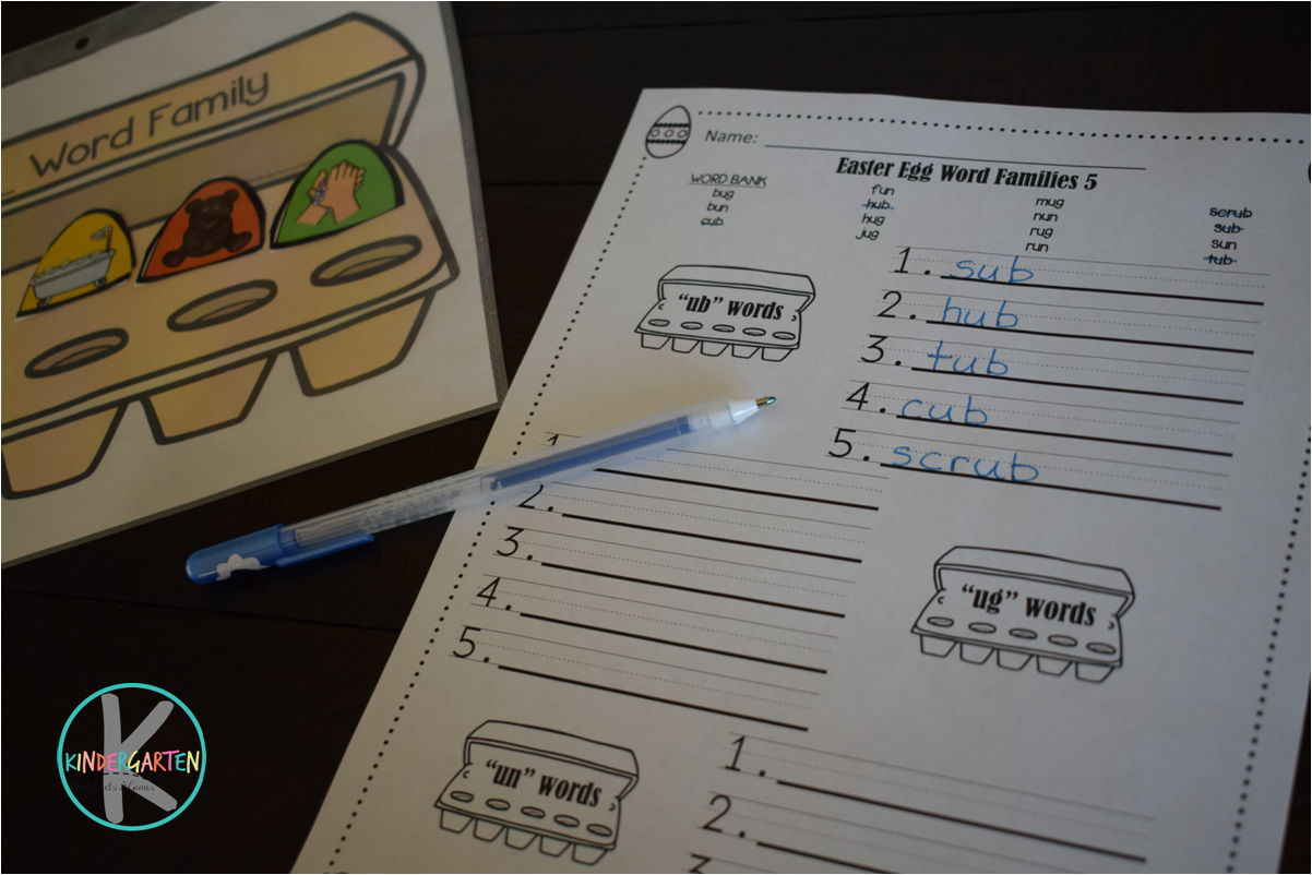 Kindergarten Worksheets And Games Free Easter Word Families