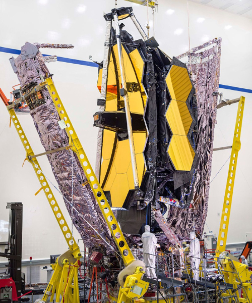 Inside a clean room at the Northrop Grumman facility in Redondo Beach, California, NASA's James Webb Space Telescope undergoes a series of tests after full assembly is completed on the observatory.