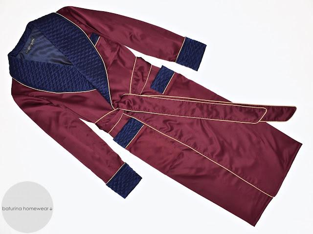 mens burgundy silk robe victorian dressing gown quilted gentlemans smoking jacket