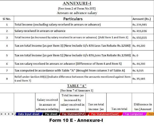 Income Tax form 10 E