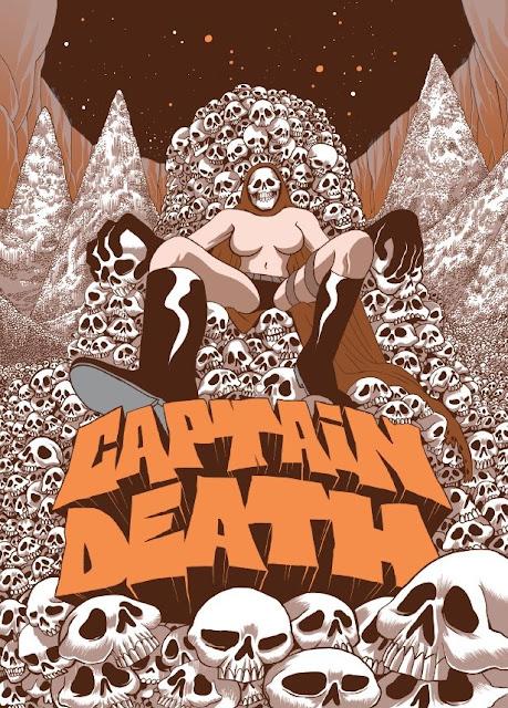 Captain Death sur un trône de crânes, dessin d'Alexis Bacci