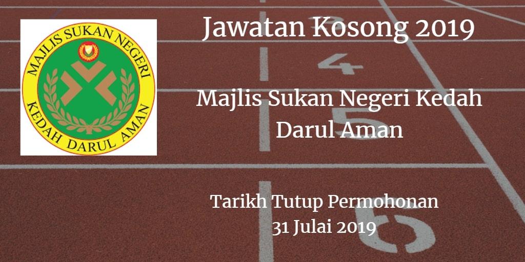 Jawatan Kosong Majlis Sukan Negeri Kedah Darul Aman 31 Julai 2019