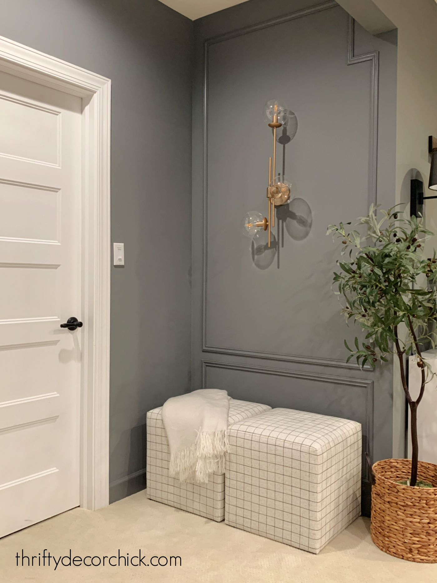 modern accent wall with decorative trim