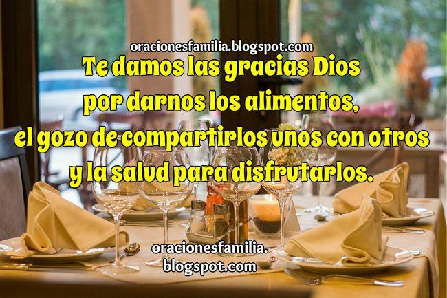 Oración de familia por la comida, alimentos, cena familiar, bendición sobre los alimentos. Oración por Mery Bracho.