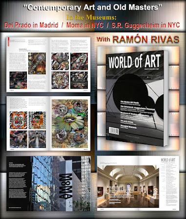 Revista World of Art, y varias páginas interiores en las que aparecen   las 11 obras publicadas de Ramón Rivas