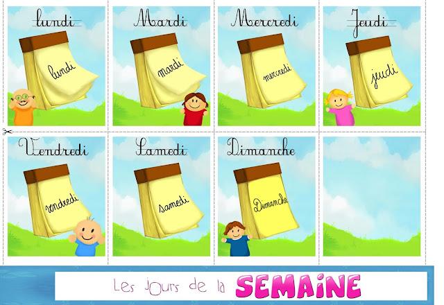 ايام الاسبوع بالفرنسية لتزيين القسم