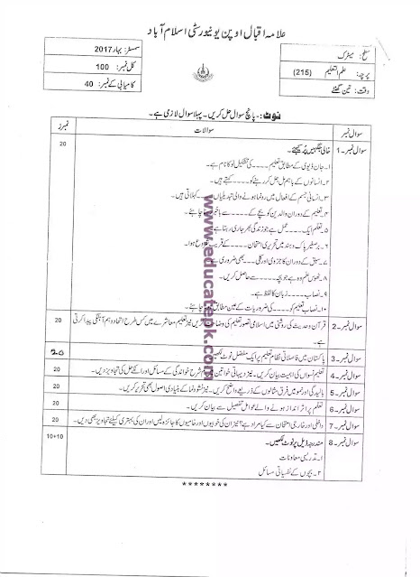 AIOU Past Paper Course Code 215 Matric Level