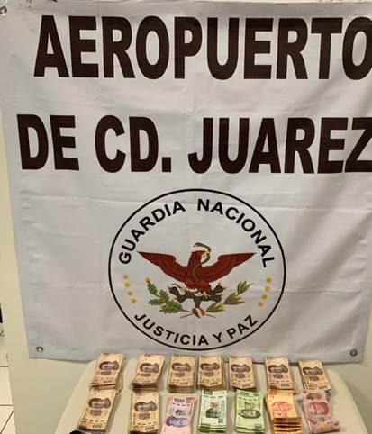EN AEROPUERTO DE CIUDAD JUÁREZ DETIENEN A UNA PERSONA CON MÁS DE 245 MIL PESOS SIN DECLARAR