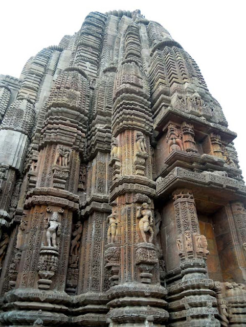 Exquisitely carved temple spire at the Rajarani Temple, Bhubaneshwar