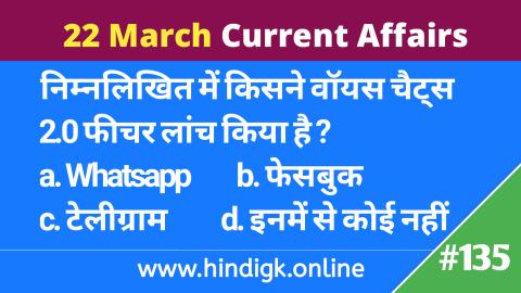 22 March 2021 Current Affairs In Hindi