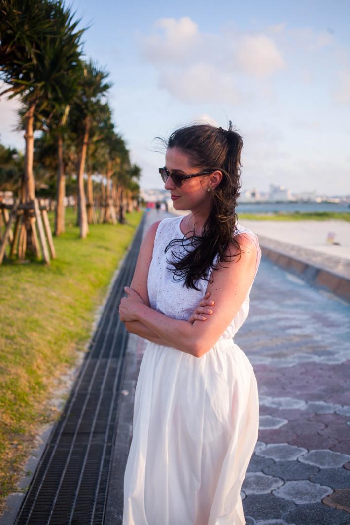 Uniqlo eyelet blouse, white skirt