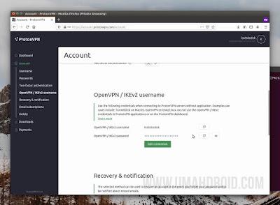 Username dan Password OpenVPN / IKEv2