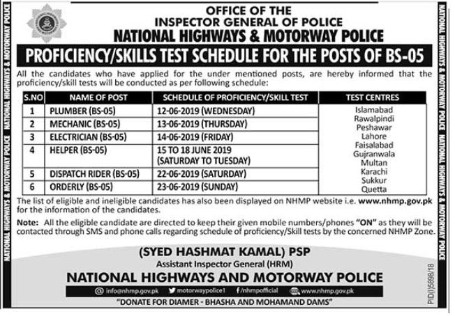 Proficiency/Skills Test in National Highways & Motorway Police, June 2019