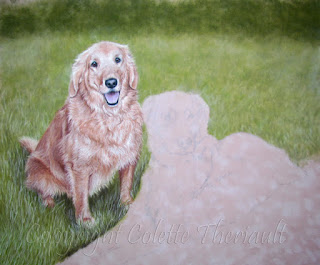 Dog portrait in pastel update by Colette Theriault