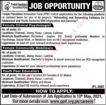 Punjab Population Innovation Fund PPIF Jobs 2021 in Pakistan