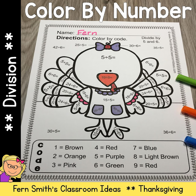 Thanksgiving Color By Number Division
