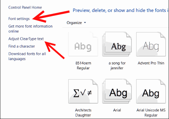 Restore Windows 10 default font settings