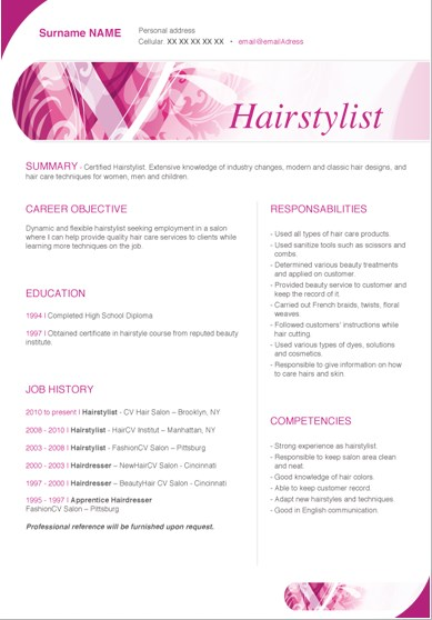sample hair stylist resume