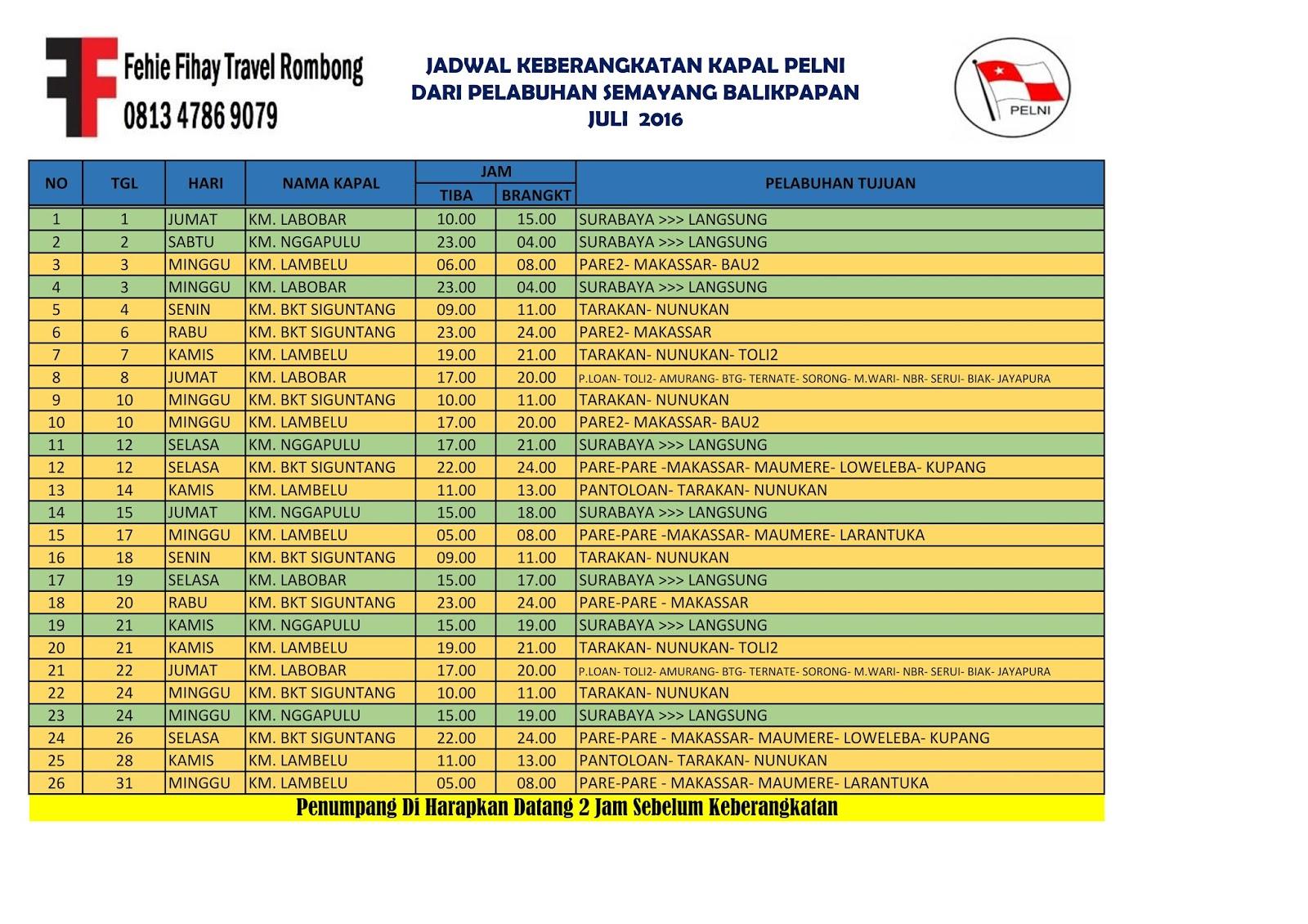 Jadwal Kapal Pelni Makassar Balikpapan Infotiket Com