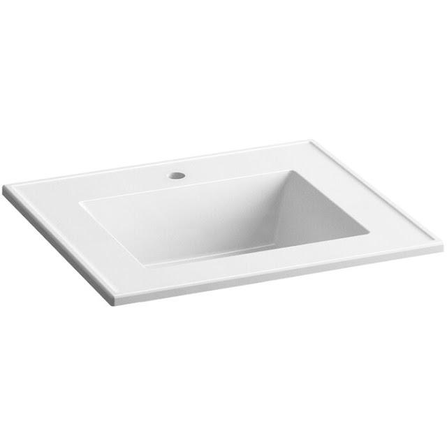 K-2777-1-G81 Ceramic Impressions Impressions Ceramic Rectangular Dual Mount Bathroom Sink with Overflow