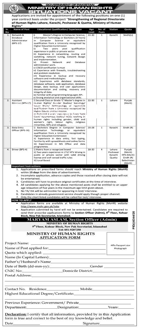 New Jobs in Ministry Of Human Rights 2021 (Age 18-30)  Human Rights Jobs in Punjab, Sindh, KPK by www.newjobs.pk