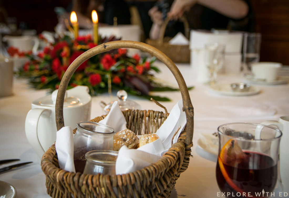 Festive scones in basket, Olive Tree Restaurant, The Celtic Manor