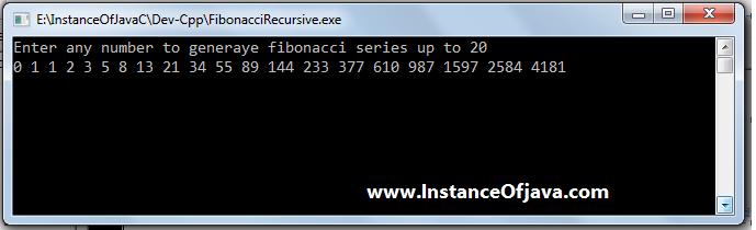 fibonacci recursive c prorgam