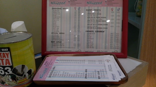 Whipped Sugar Wax and Body Scrub Salon Pricelist