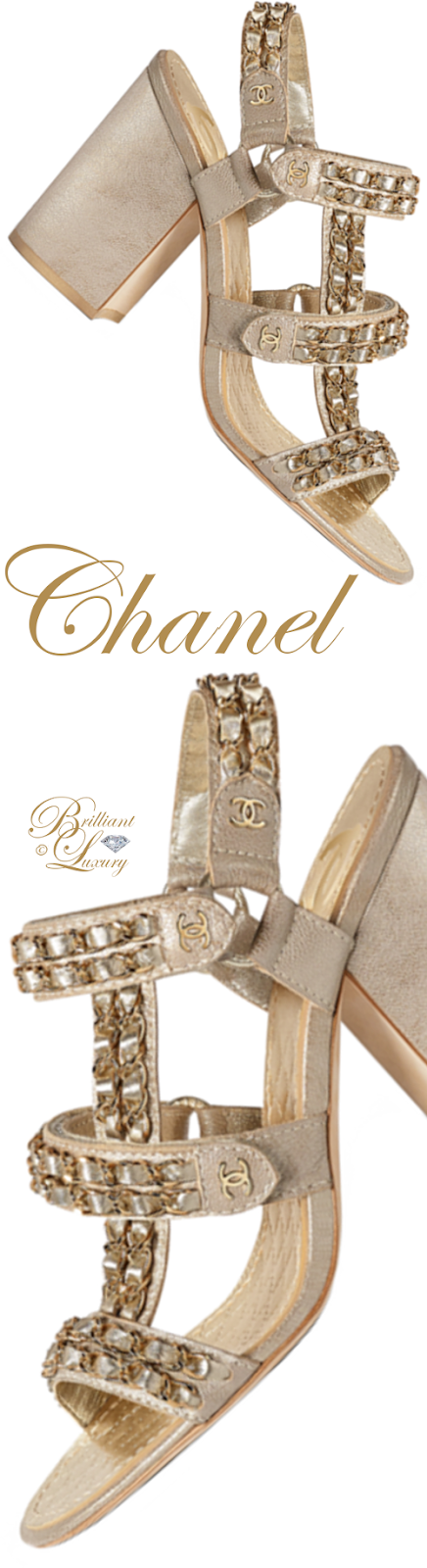 Brilliant Luxury ♦ Chanel gold metallic goatskin block heel sandals