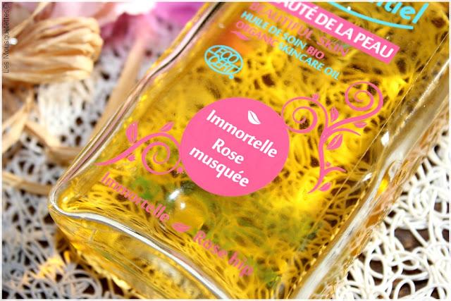 Huile Beauté de la peau rose musquée immortelle bio - Puressentiel - Blog beauté Les Mousquetettes©