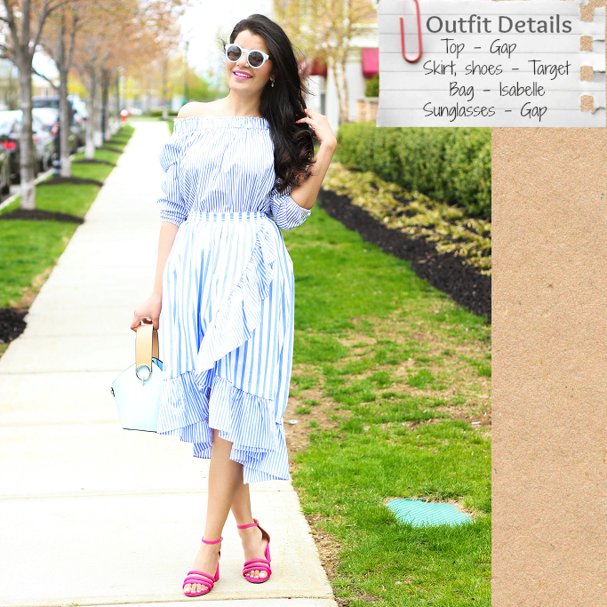 Spring Summer Outfit Ideas, Target Who What Wear Striped Ruffle Wrap Midi Skirt, Gap Striped Off Shoulder Top, Poplin Ruffle Skirt, Danse Lente Bag Lookalike, Danse Lente Dupe, Target Pink Strappy Sandals