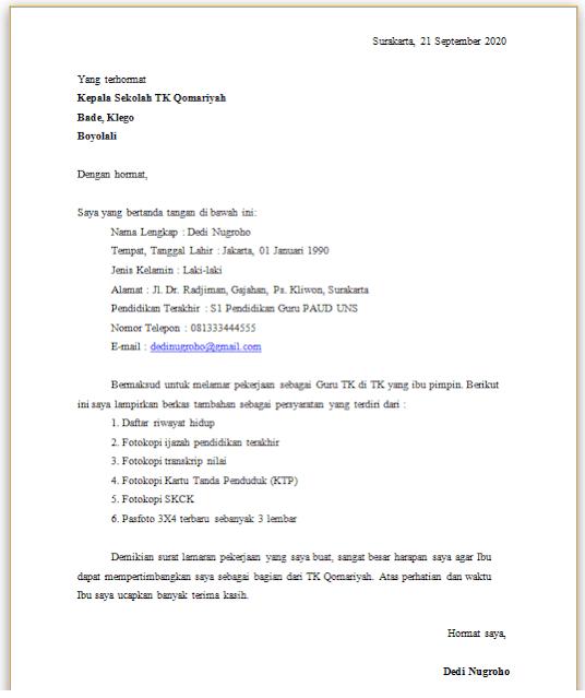 Contoh Surat Lamaran Kerja Guru TK
