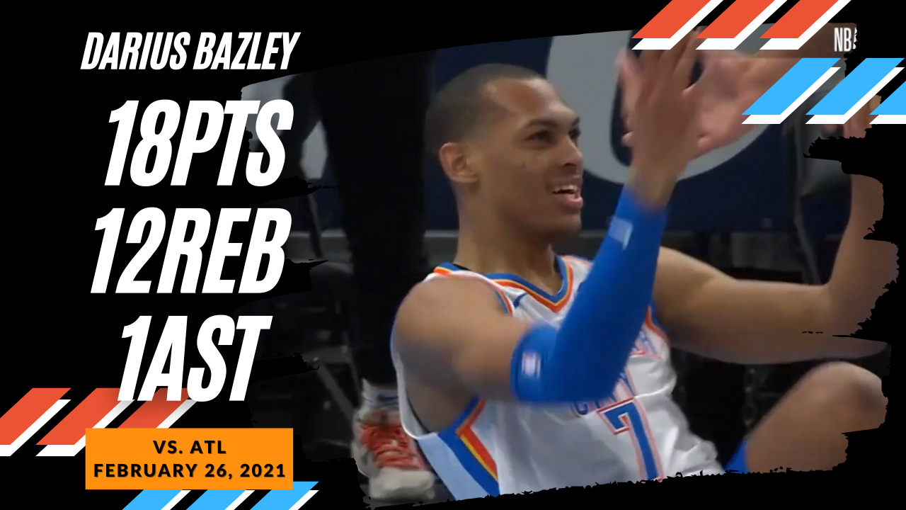 Darius Bazley 18pts 12reb vs ATL | February 26, 2021 | 2020-21 NBA Season