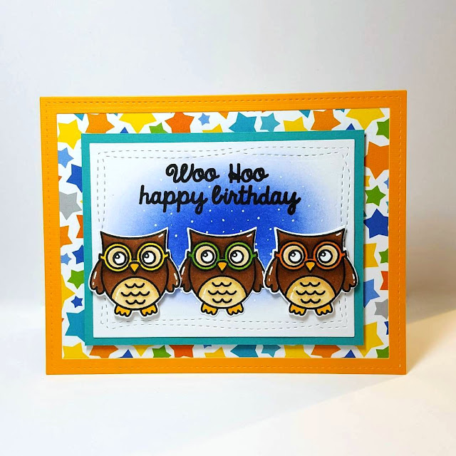 Sunny Studio Stamps: Woo Hoo Owl Birthday Card by Lindsey Sams.