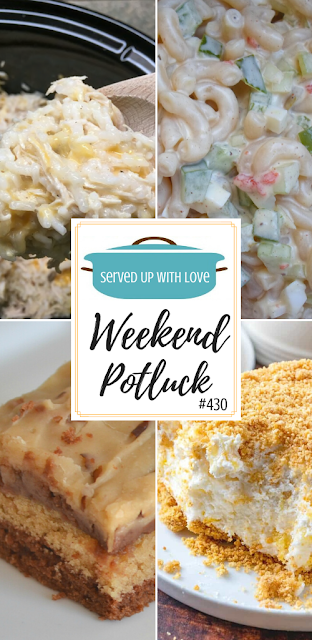 Weekend Potluck featured recipes include Peanut Butter Chocolate Texas Sheet Cake, Amish Pasta Salad, Chicken and Rice Crock Pot Recipe, Pineapple Dream Dessert, and so much more.
