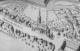 Przedmieście Oławskie, fragment planu z 1741 r., z kościołem św. Maurycego i figurą św. Jana Nepomucena