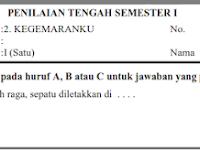 Soal PTS Tematik Kelas 1 Tema 2 Semester 1/ Ganjil Kurikulum 2013
