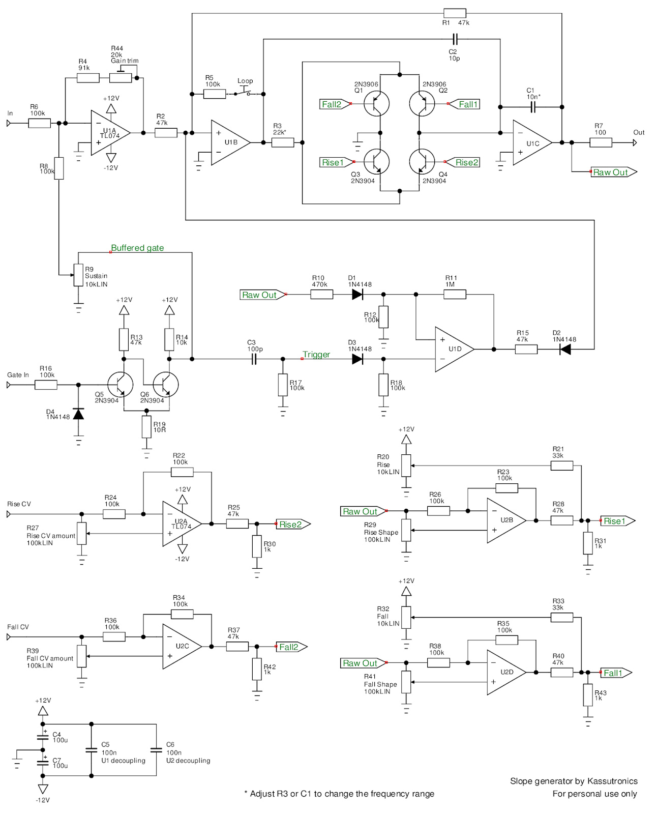 Kassutronics Slope Generator Voltage Controlled Resistor Pictures Slew Limiter Part There Is Gate Processing And Logic For The Envelope Mode Loop Function Finally Of Control Sigals