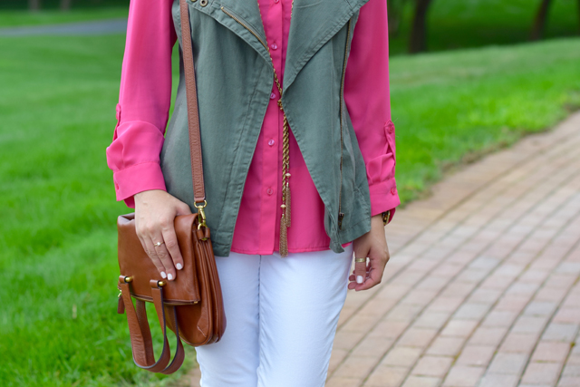 A Day In The Lalz; Transitioning To Fall Fashion; Fashion Blog; Modesty; The Limited Ashton Blouse; Green Vest; Pink; Michael Kors Flats; Cole Haan Sunglasses; White Denim; BaubleBar Necklace