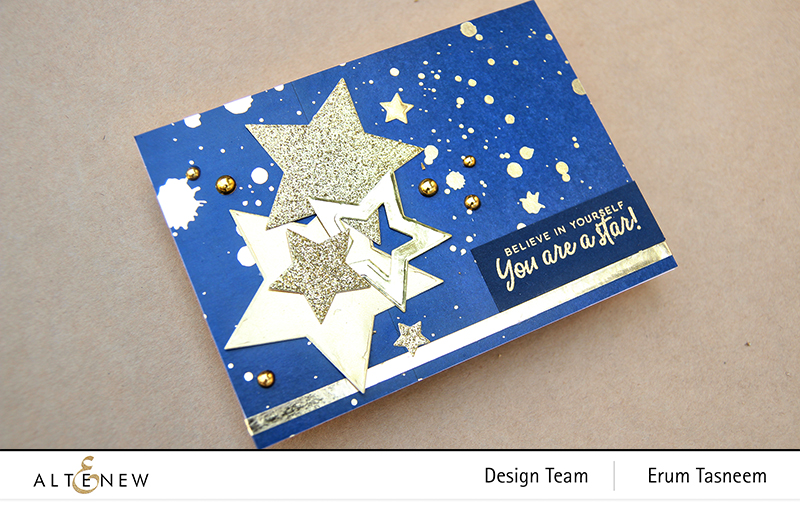Altenew Gold Splatter Navy Washi Tape | Halftone Stars | Erum Tasneem | @pr0digy0