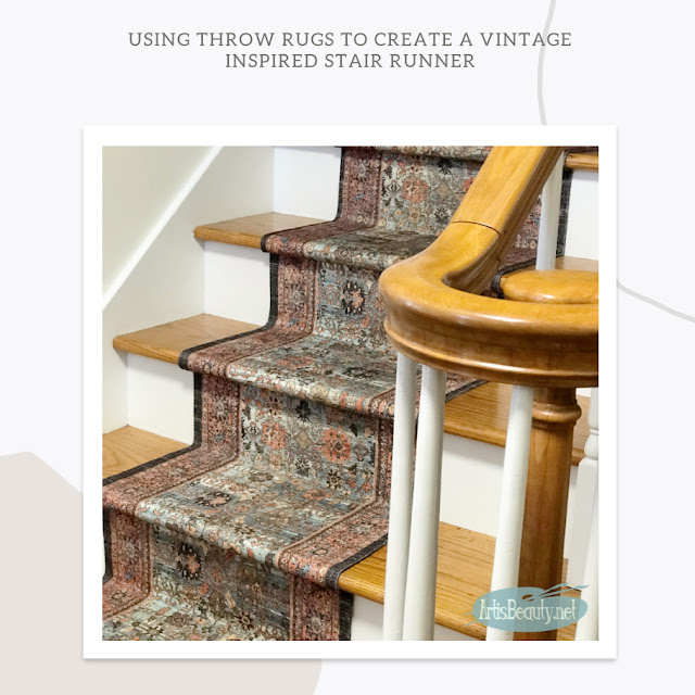USING THROW RUGS TO CREATE A VINTAGE INSPIRED STAIR RUNNER DIY ARTISBEAUTY.NET KARIN CHUDY