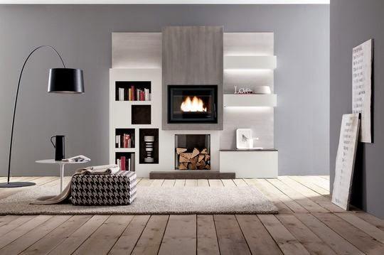 Chimenea integrada en mueble