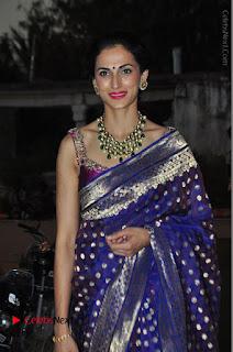 Model Shilpa Reddy Stills in Purple Silk Saree at Gudi Sambaralu 2017 Sri Ramachandra Swami Temple  0056.JPG