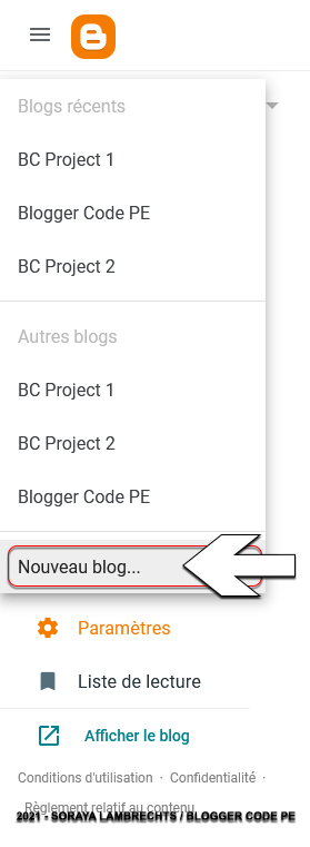 Créer un nouveau blog.