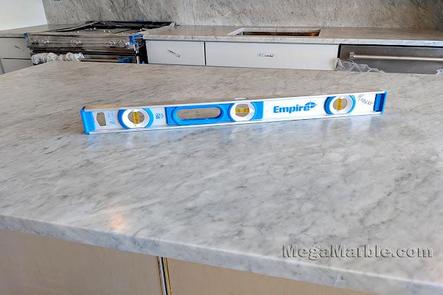White carrara marble kitchen