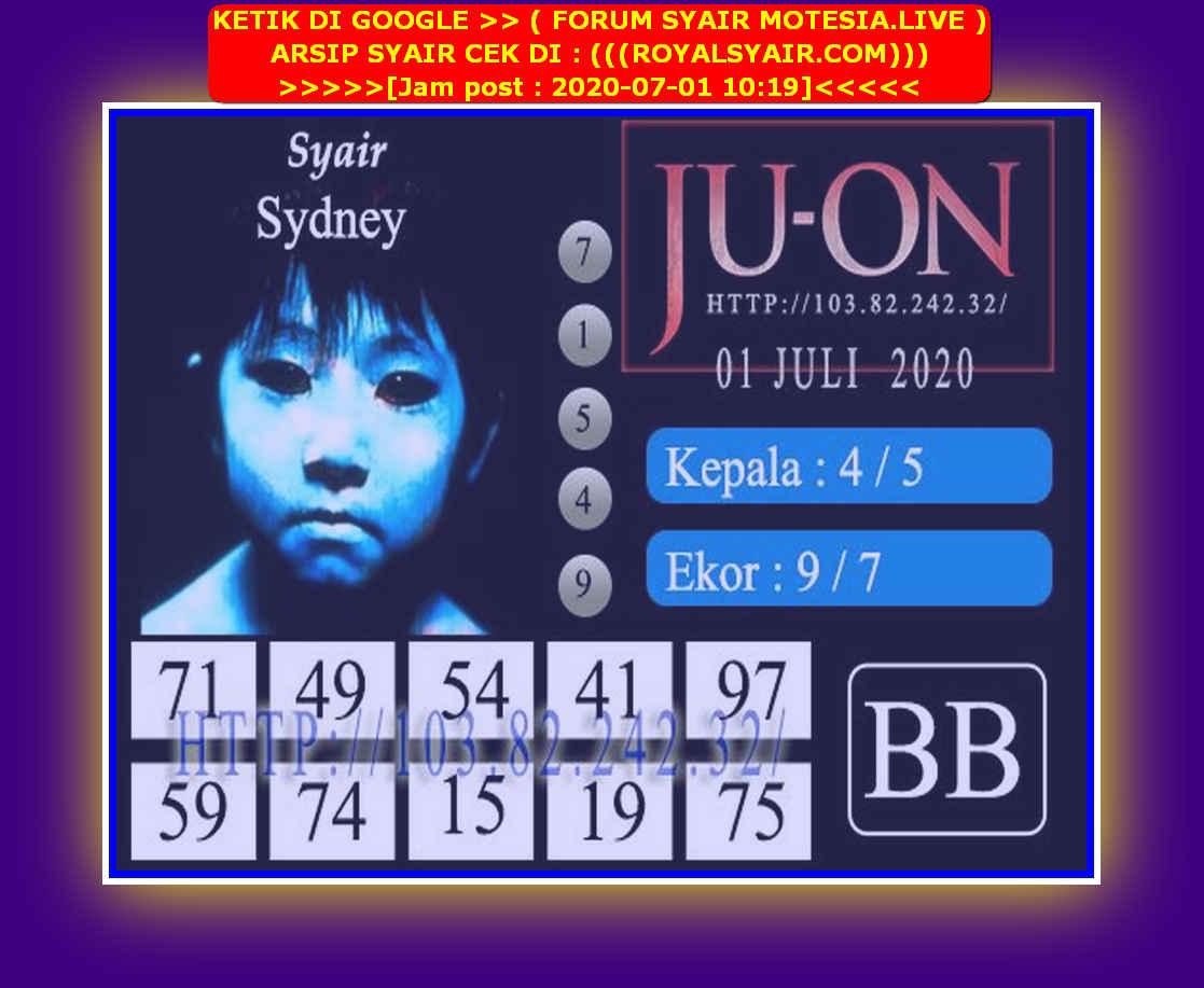 Kode syair Sydney Rabu 1 Juli 2020 154
