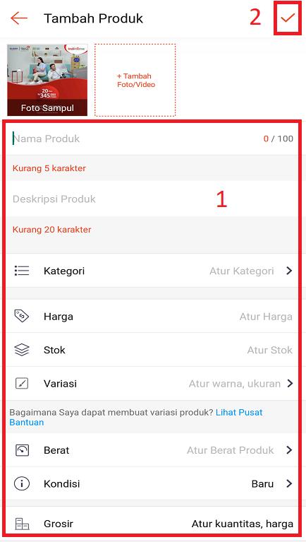 Mengisi Informasi Produk Jualan di Aplikasi Shopee Melalui Smartphone.