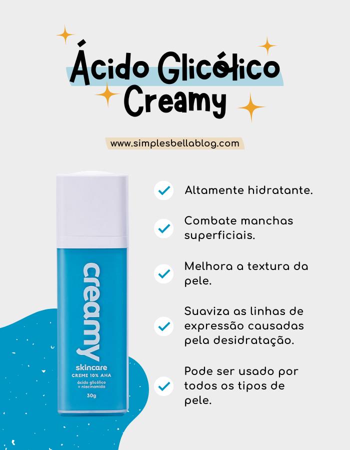 Benefícios do ácido glicólico da Creamy