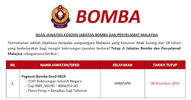 jawatan kosong kerajaan jabatan bomba dan penyelamat malaysia